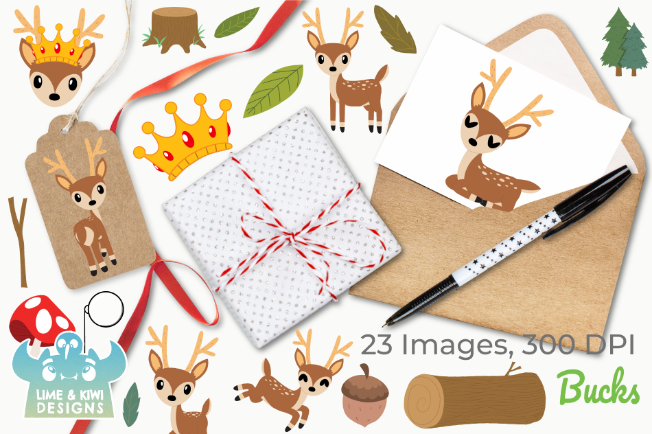 Bucks Clipart, Instant Download Vector Art, Commercial Use example image 4