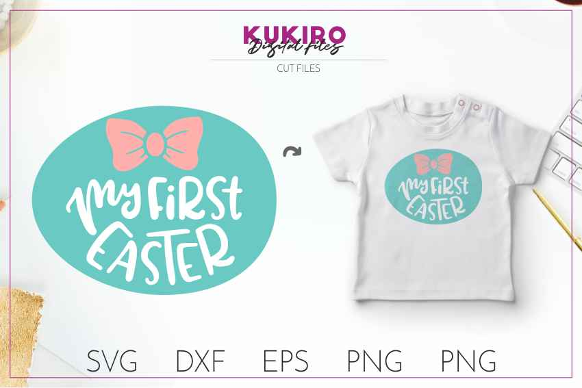 My first EASTER - girl cut file SVG DXF EPS PNG JPG example image 1