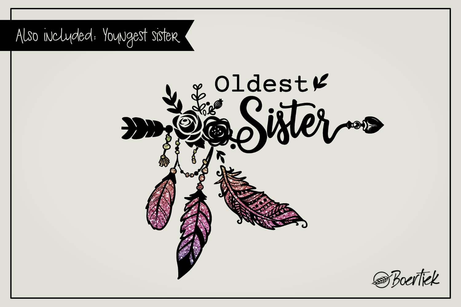 Youngest- and oldest sister, two SVG cutfiles example image 2