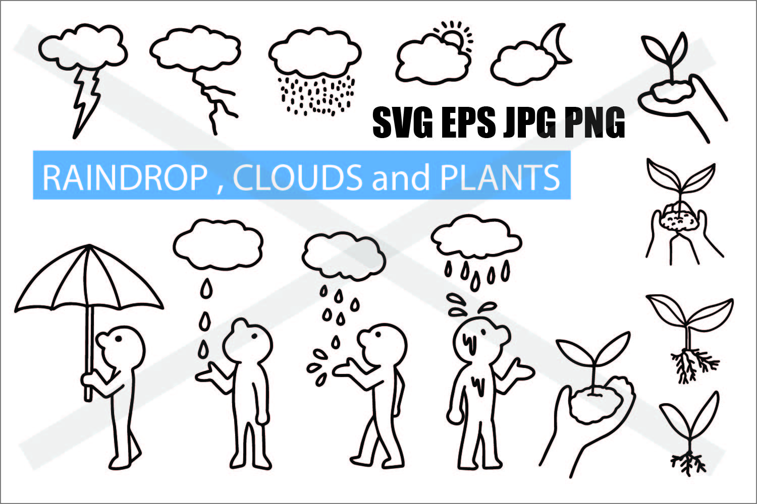 Cloud Raindrop and Plant - SVG EPS JPG PNG example image 1