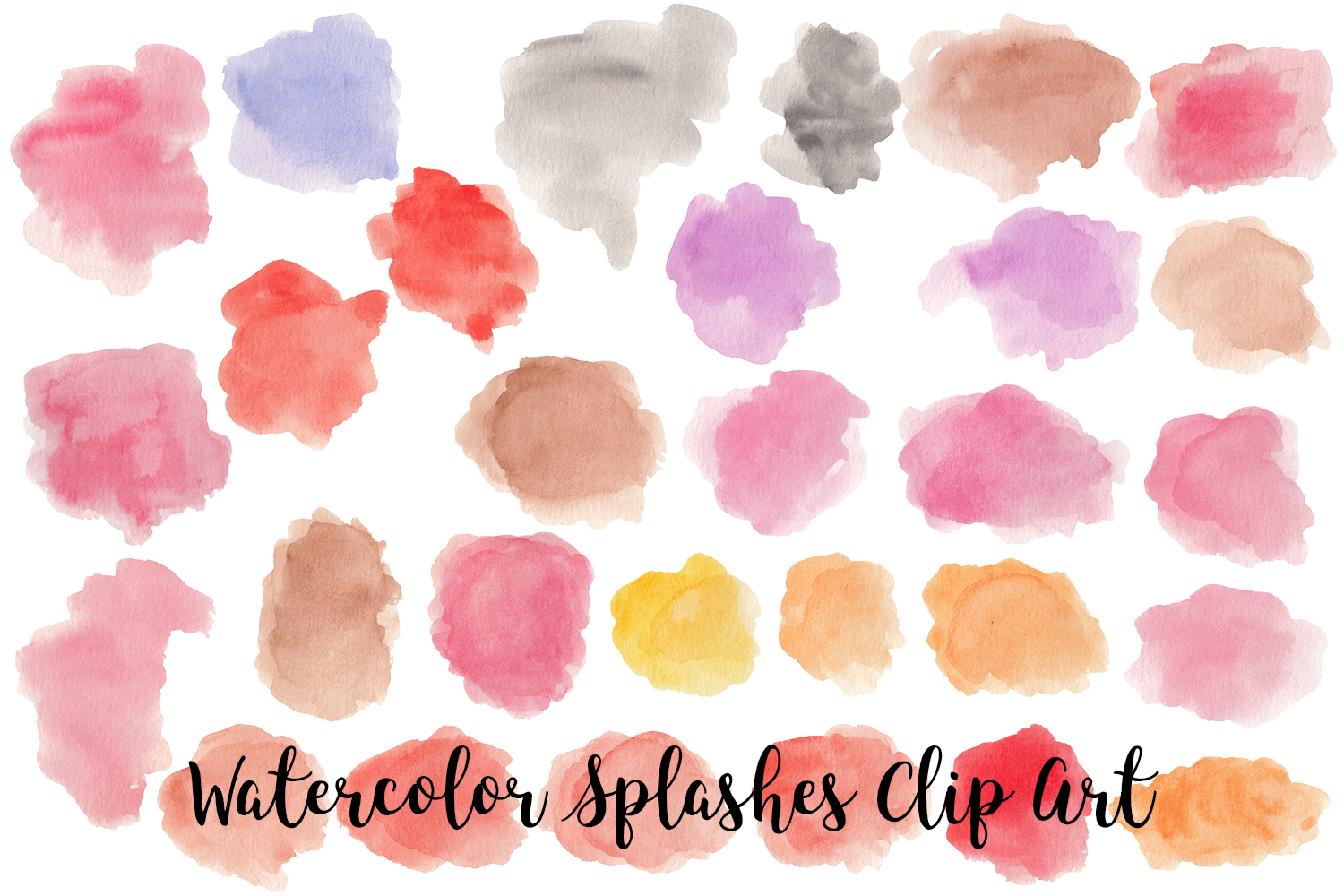 Watercolor Splashes Clip Art, Transparent PNG example image 3