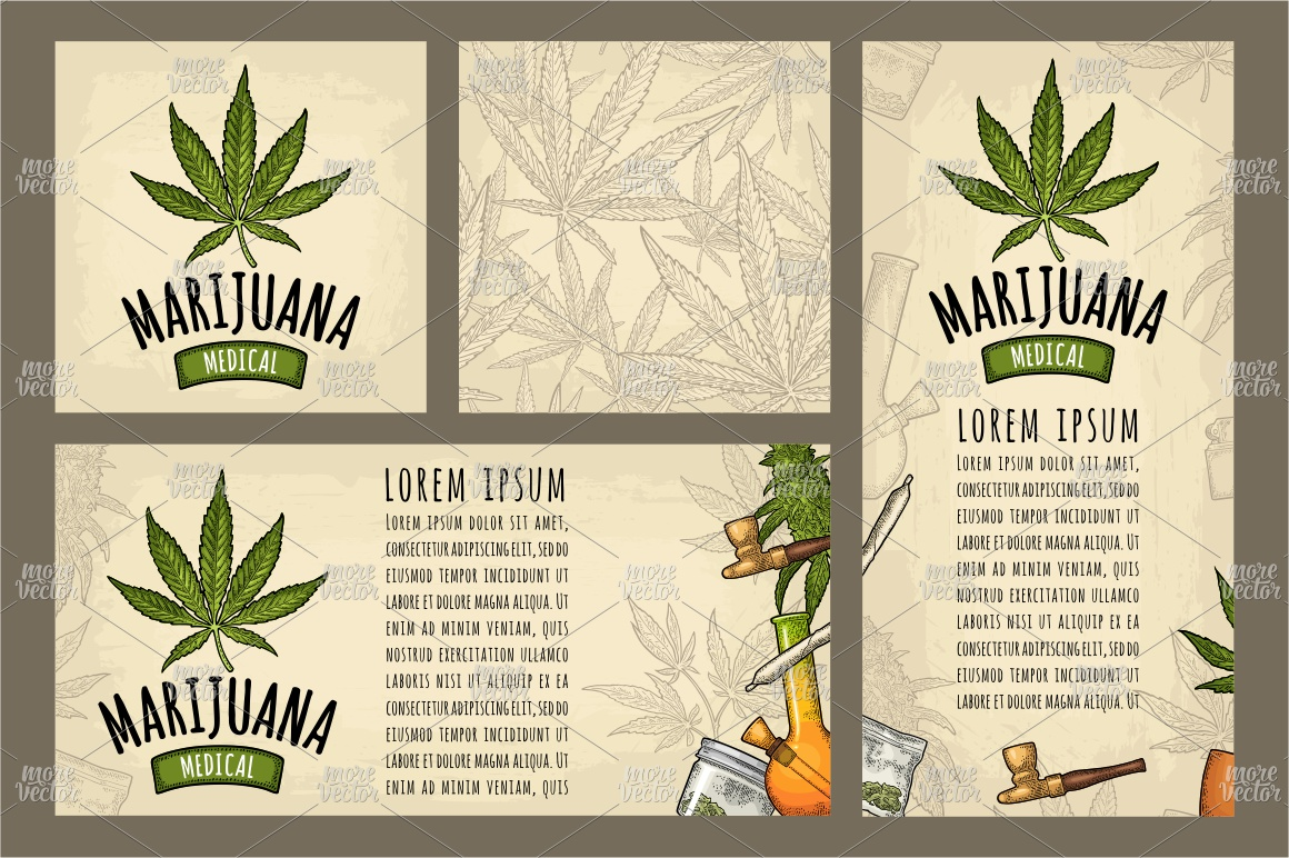 Marijuana Cigarette pipe bud hand leaf. Engraving example image 3