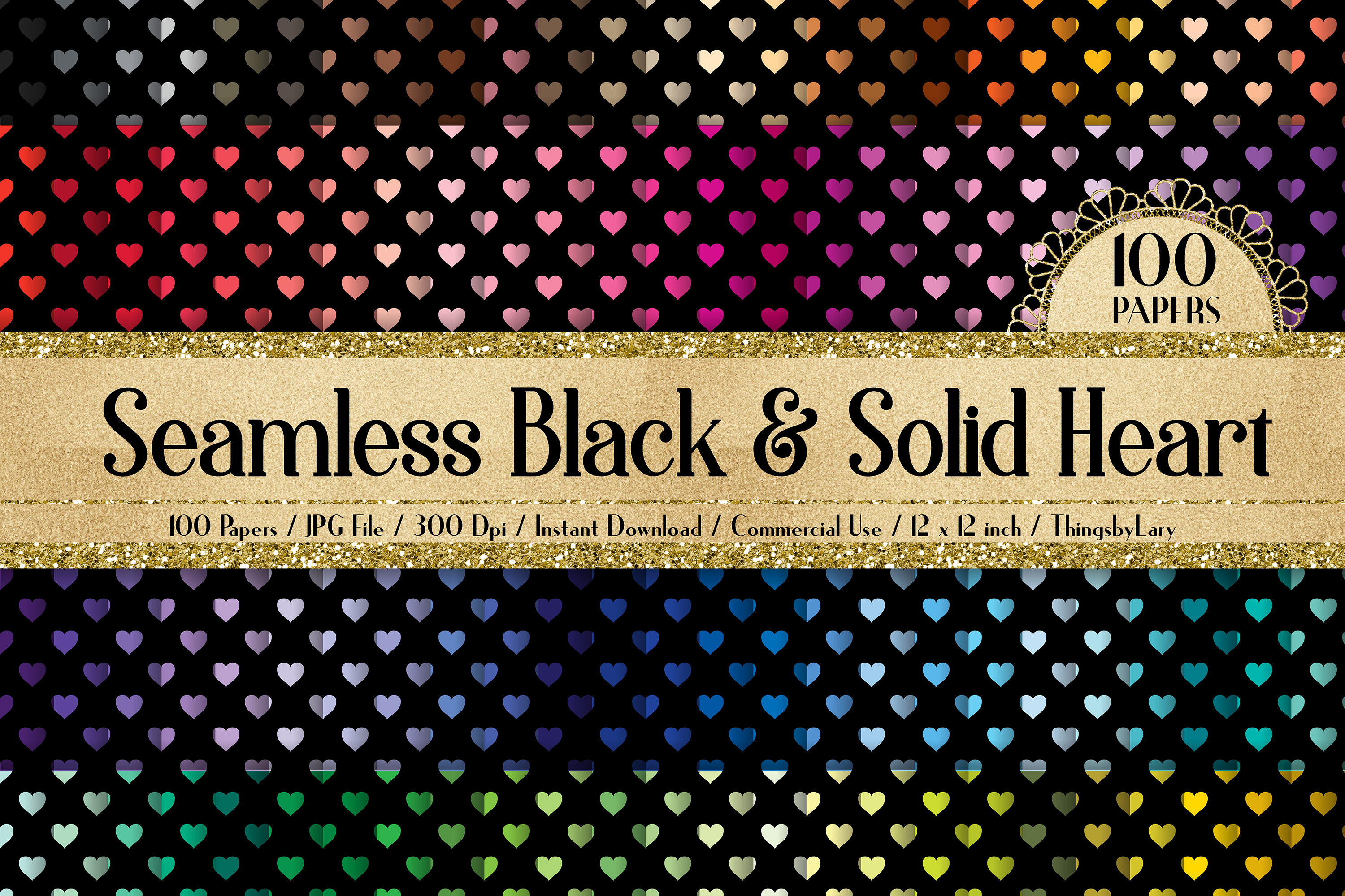 100 Seamless Black and Solid Heart Valentine Digital Papers example image 1