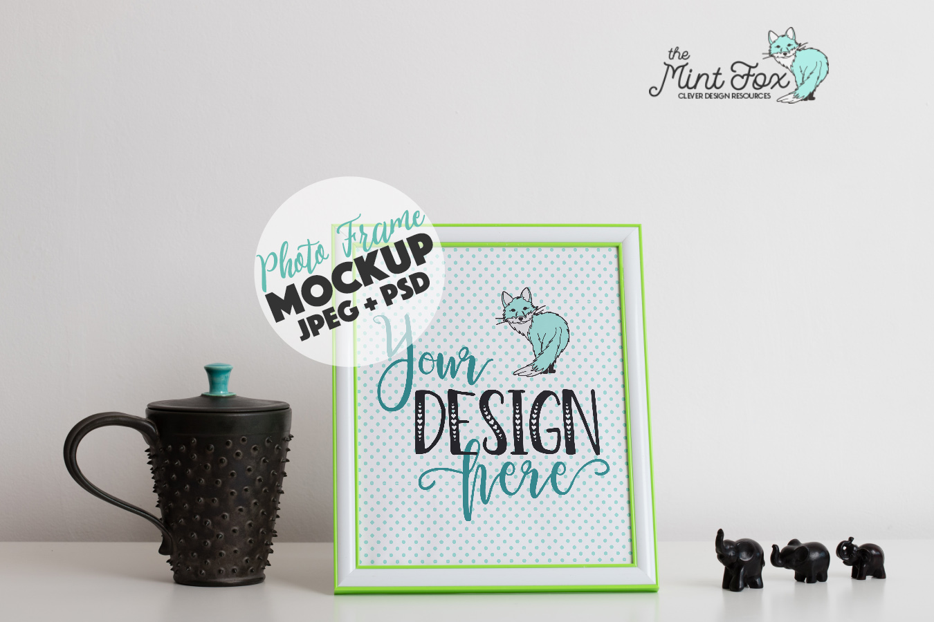 Frame Mockup with Elephants | JPG & PSD Mock Up example image 1
