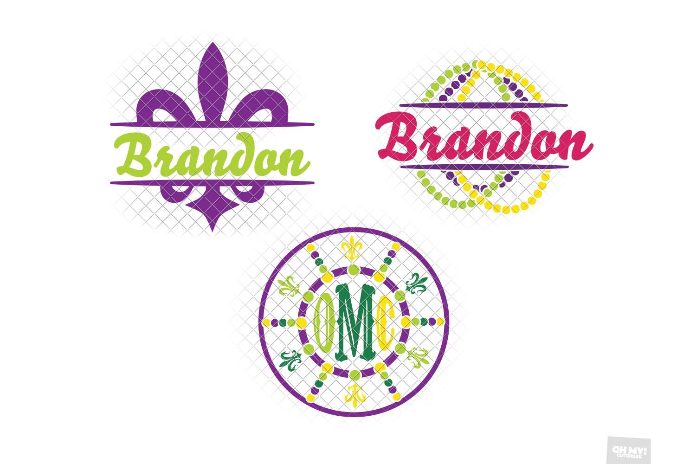 Mardi Gras Monogram Frames SVG Bundle example image 3
