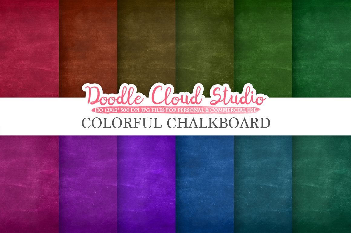 Colorful Real Chalkboard digital paper, Rainbow chalkboard Backgrounds, red green blue schoolboard textures, Instant Download Commercial Use example image 2