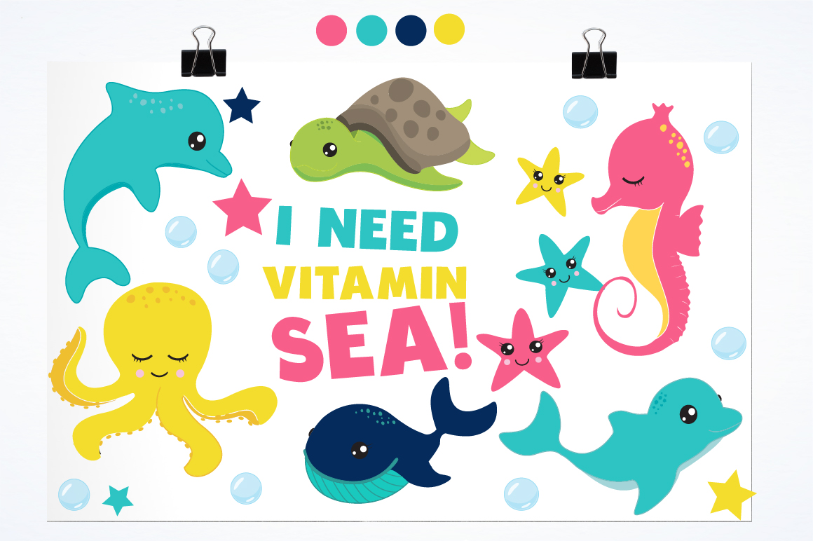 Sea animals graphics and illustrations example image 2