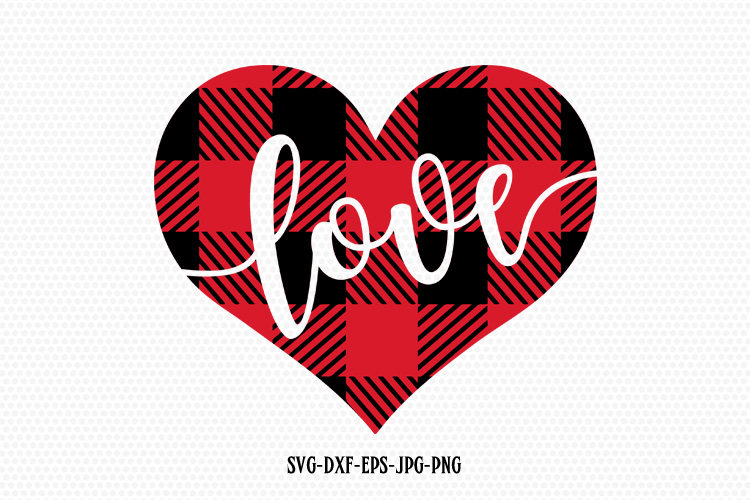 Valentines Day SVG, Love SVG, Plaid Love Heart example image 1