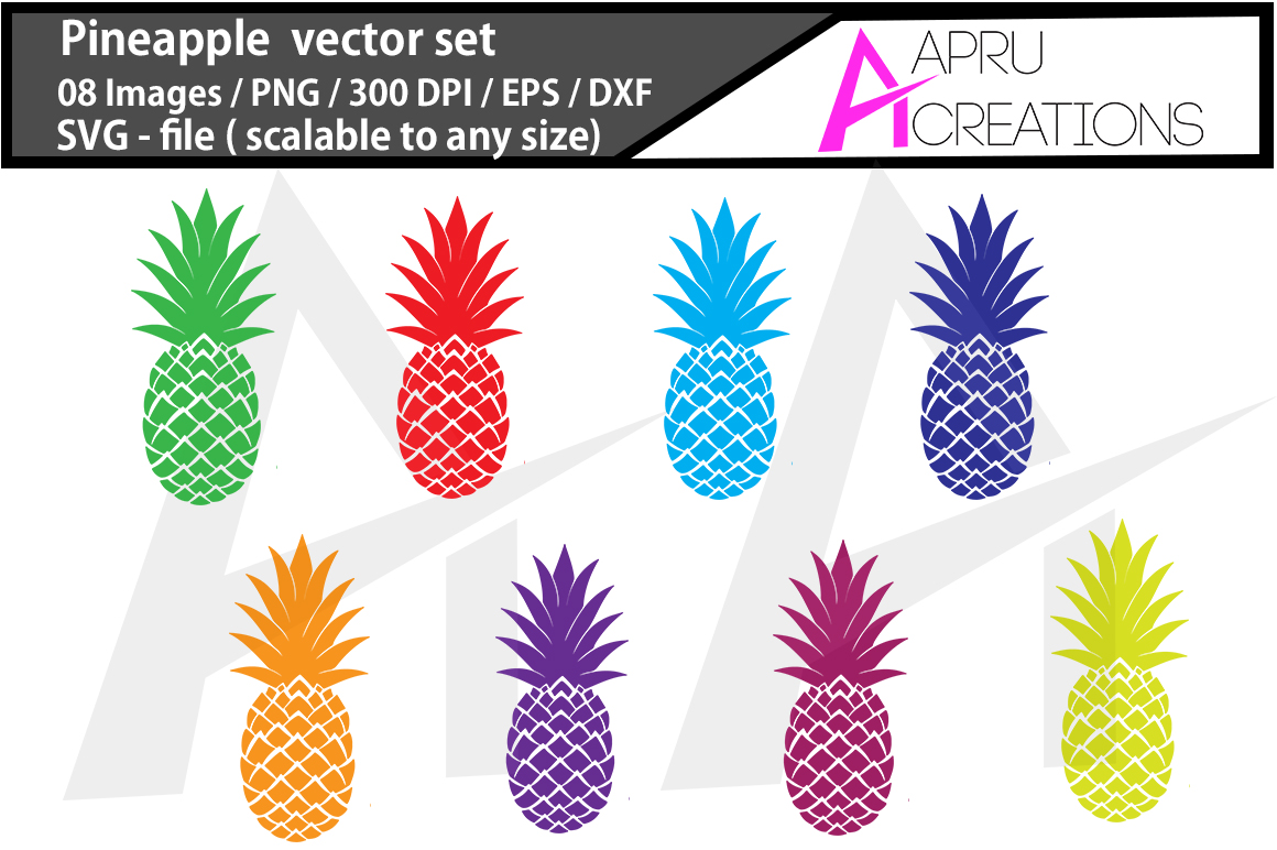 pineapple SVG cut file / coloured pineapple cut file / pineapple silhouette vector  example image 1