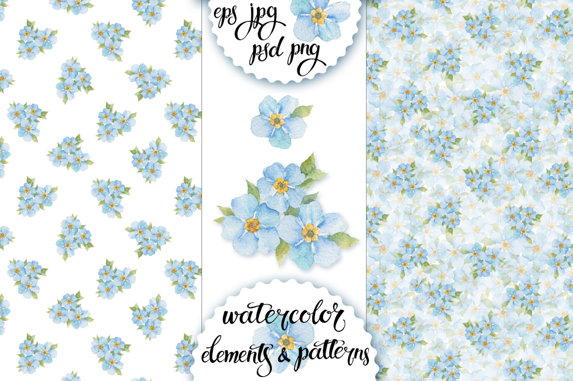 Forget-me-not. Watercolor set. example image 2