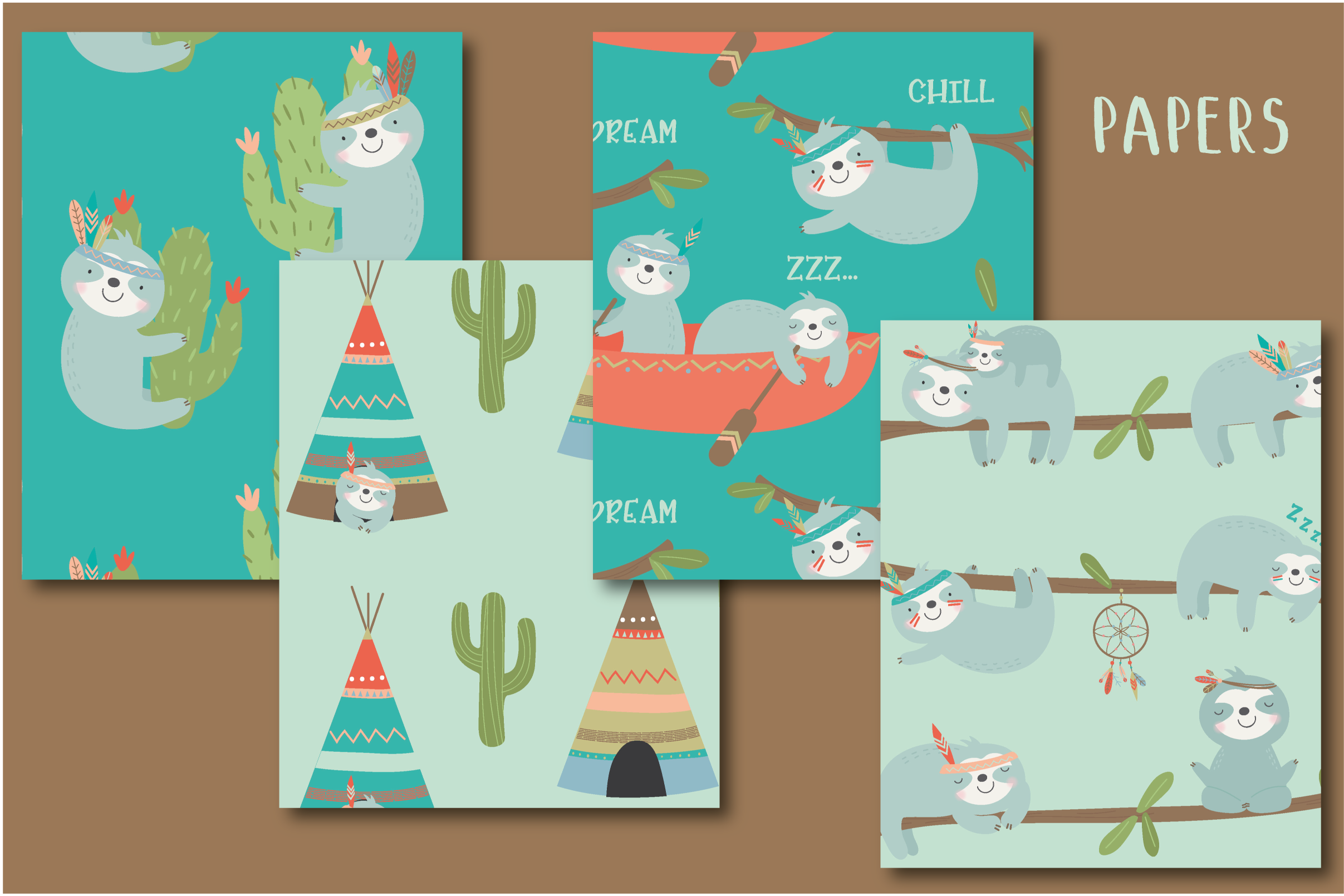 SLoth TRibe clipart and paper set example image 4