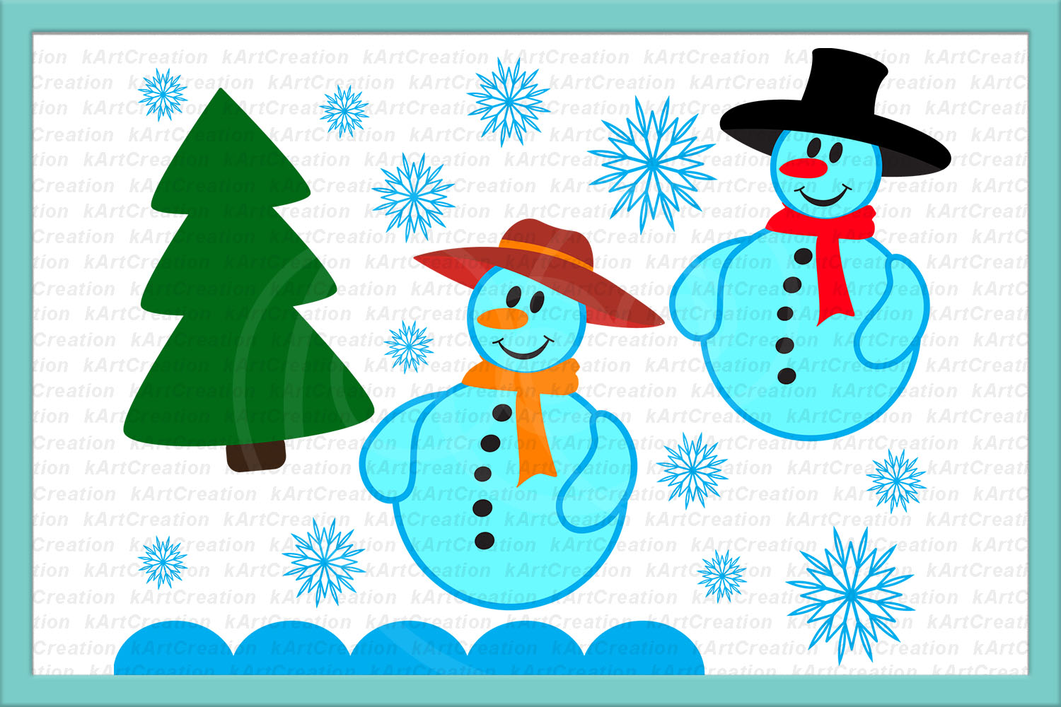 snowman snow woman Christmas tree snowflakes svg dxf clipart example image 1