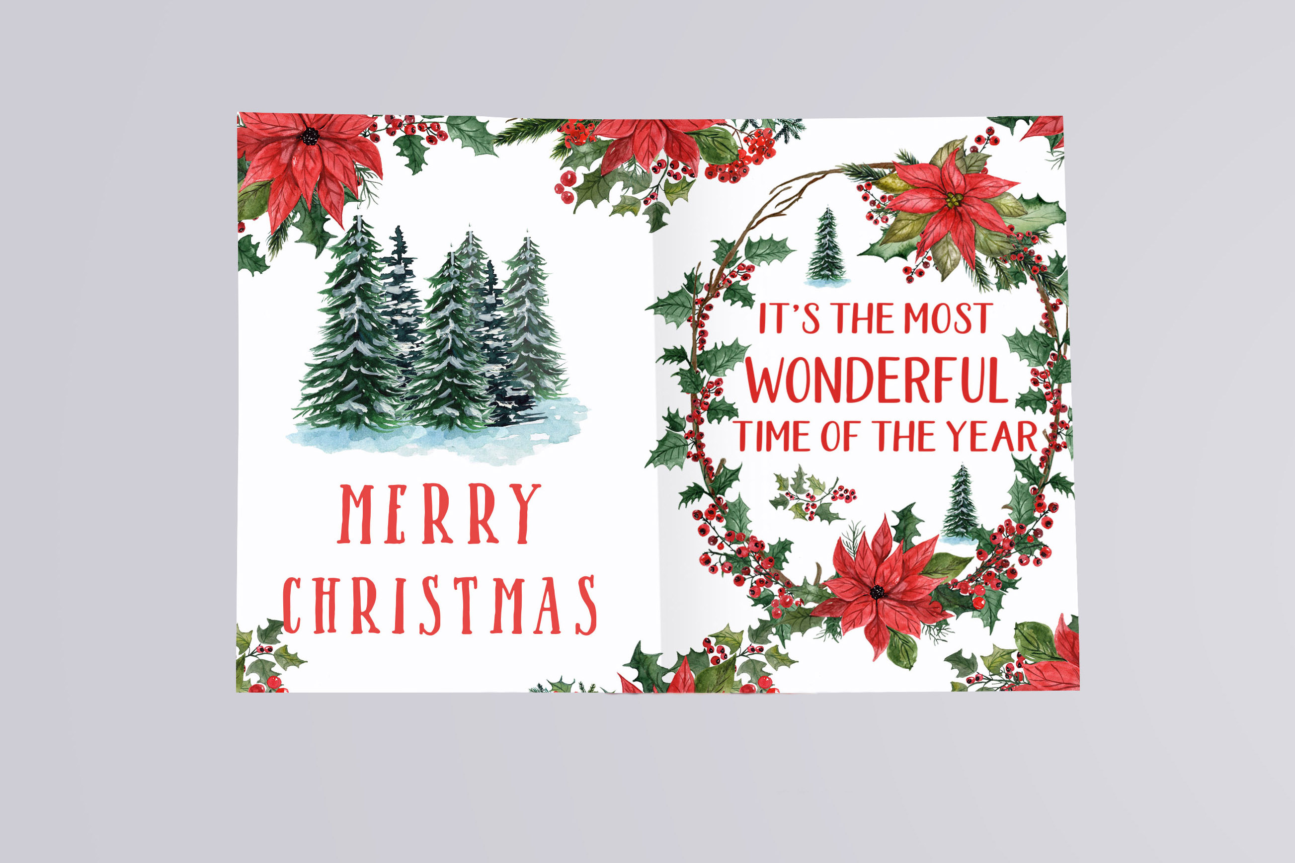 Watercolor Christmas cars clipart, Poinsettias Wreaths example image 6