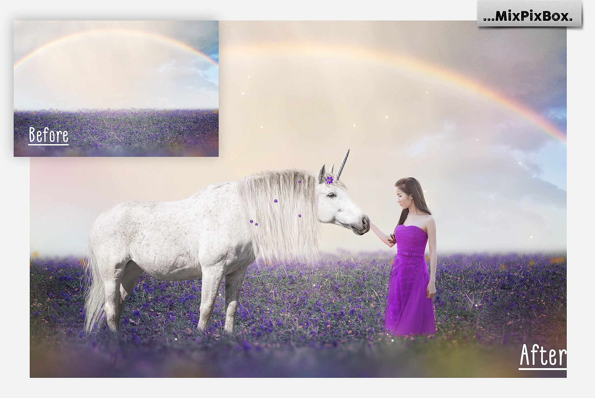 Unicorn PNG Overlays and Backdrops Pack example image 3