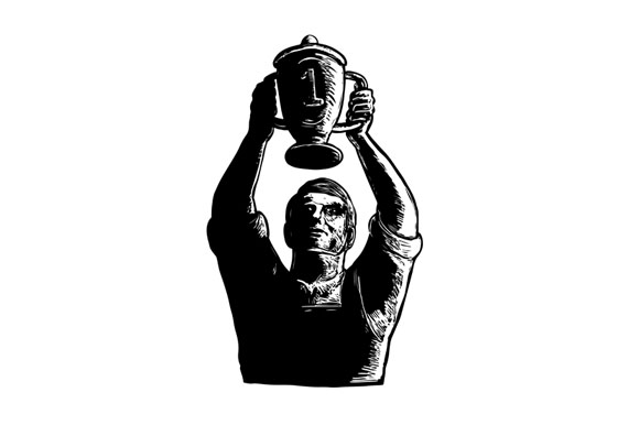 Worker Lifting Championship Cup Scratchboard example image 1