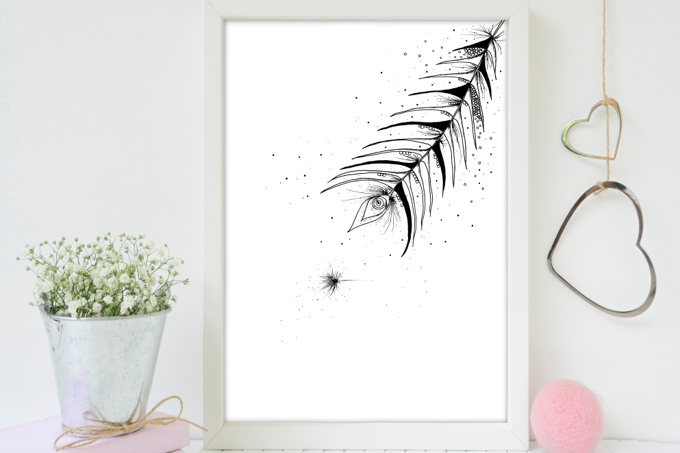 Tribal Feather Floral Ink Art, A1, SVG example image 3