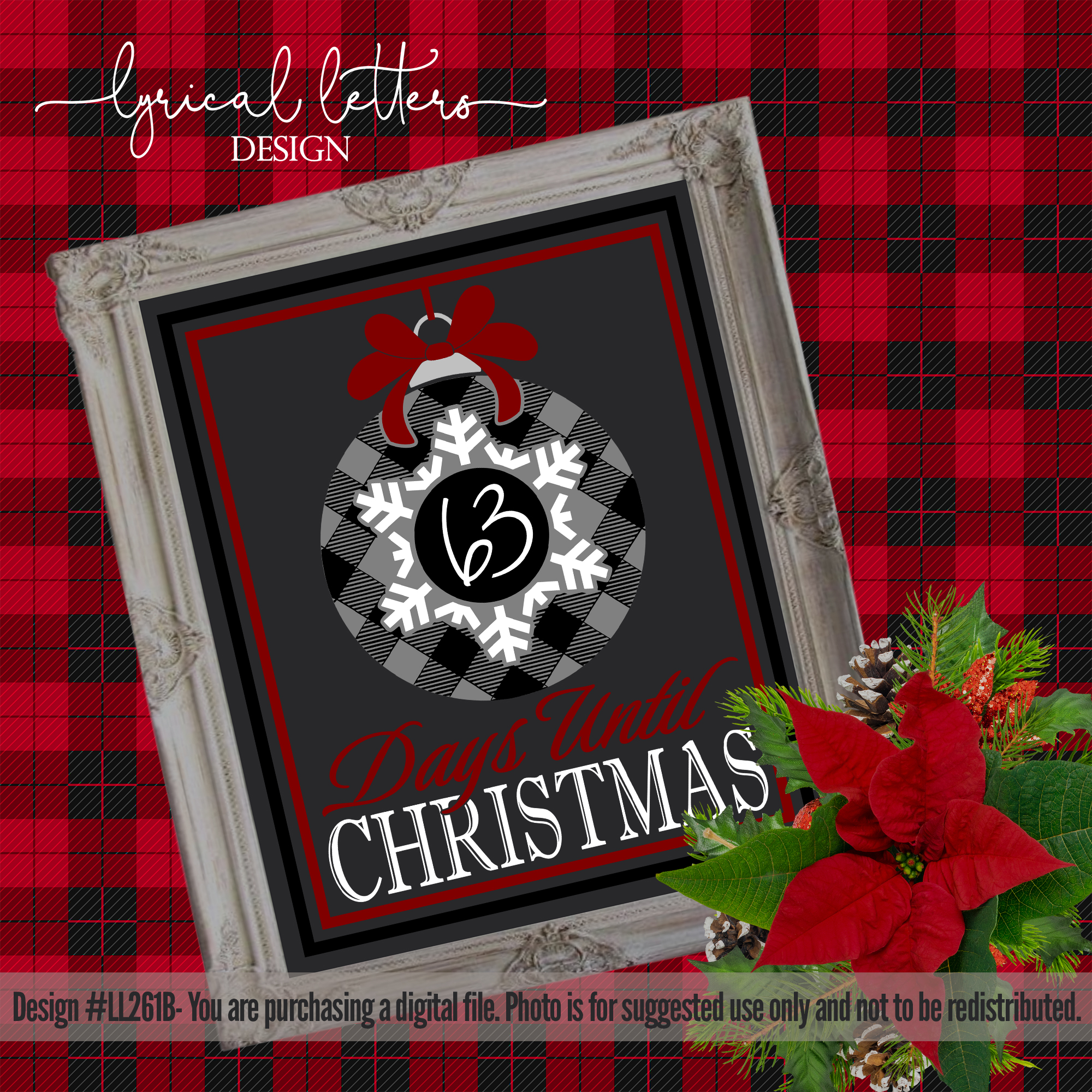 Red and Black Christmas Bundle of 5 SVG DXF Cut Files L example image 3