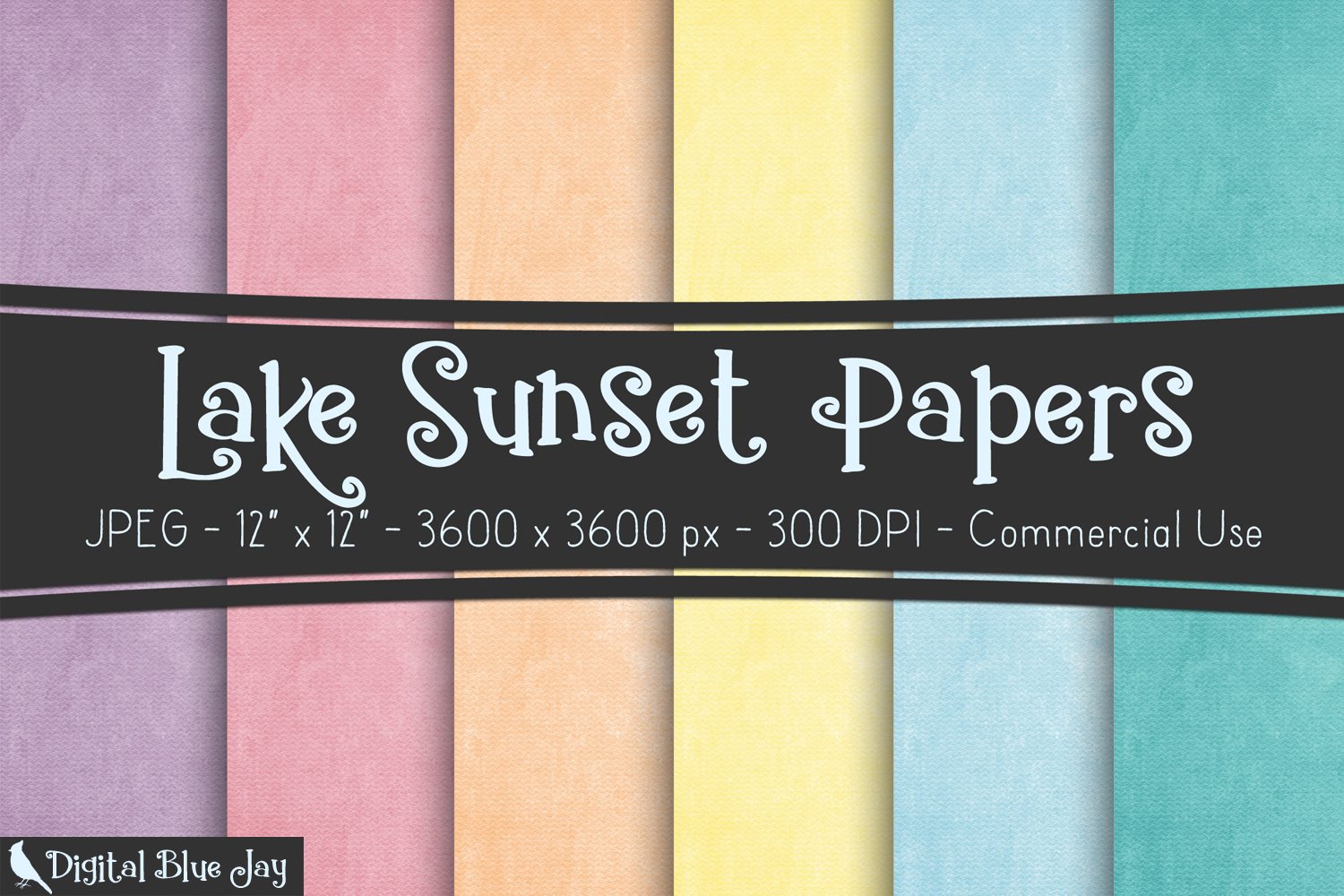 Digital Paper Textured Backgrounds - Lake Sunset example image 1