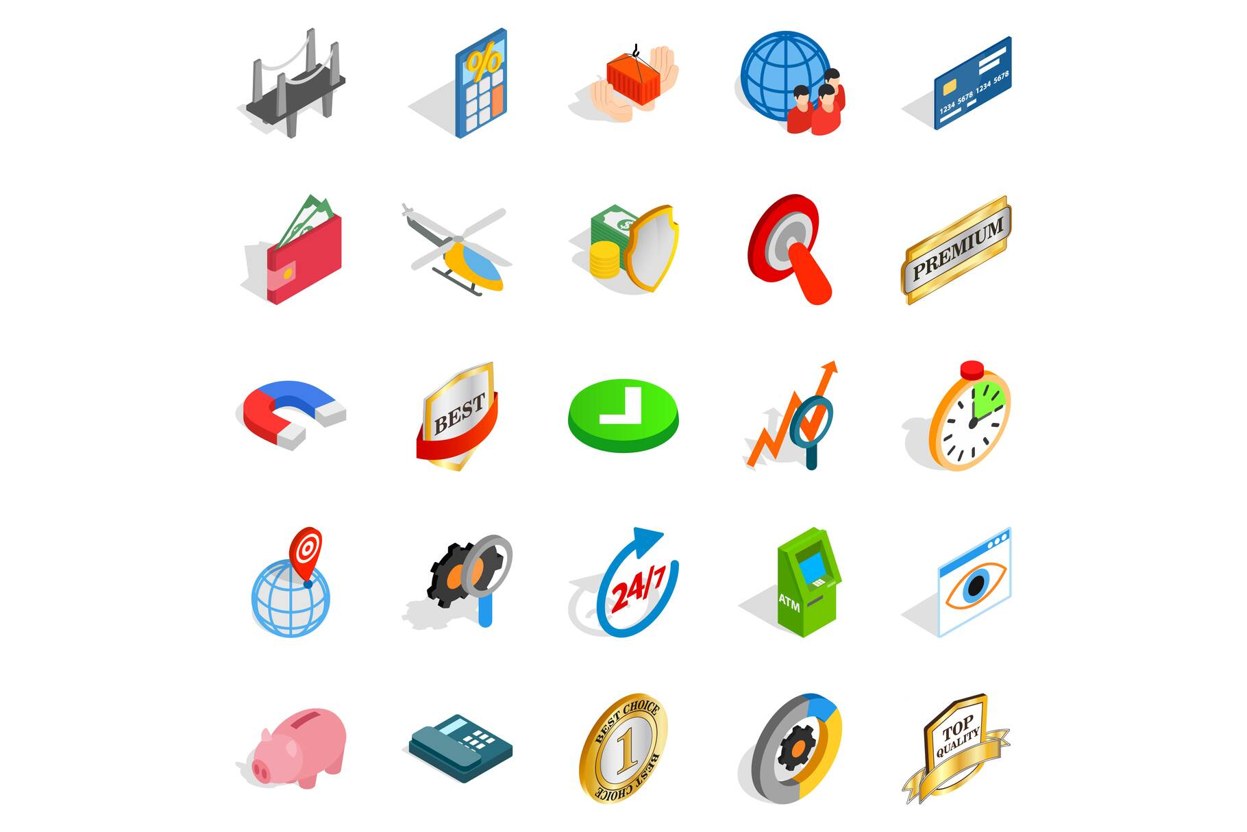 Business planning icons set, isometric style example image 1