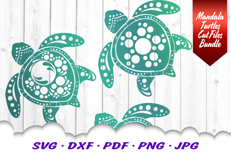 BIG Mandala Sea Turtle SVG DXF Cut Files Bundle example image 5