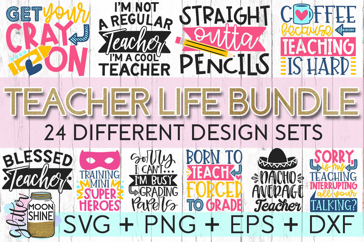Huge Teacher Bundle of 24 SVG DXF PNG EPS Cutting Files example image 1