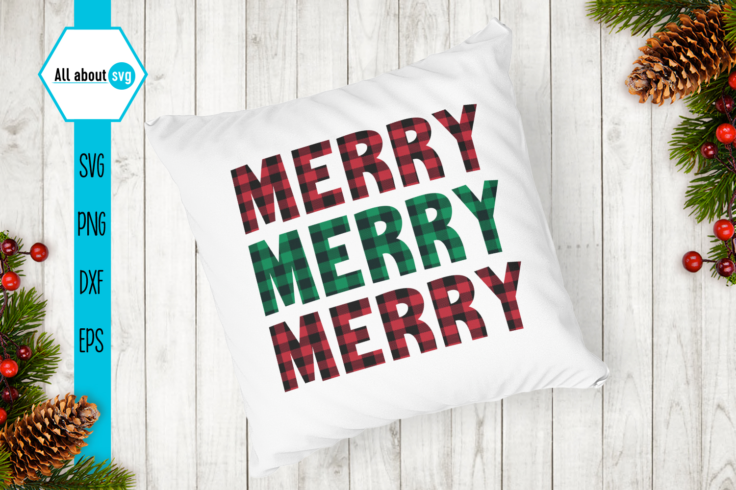 Merry Merry Merry Christmas Plaid Svg example image 4