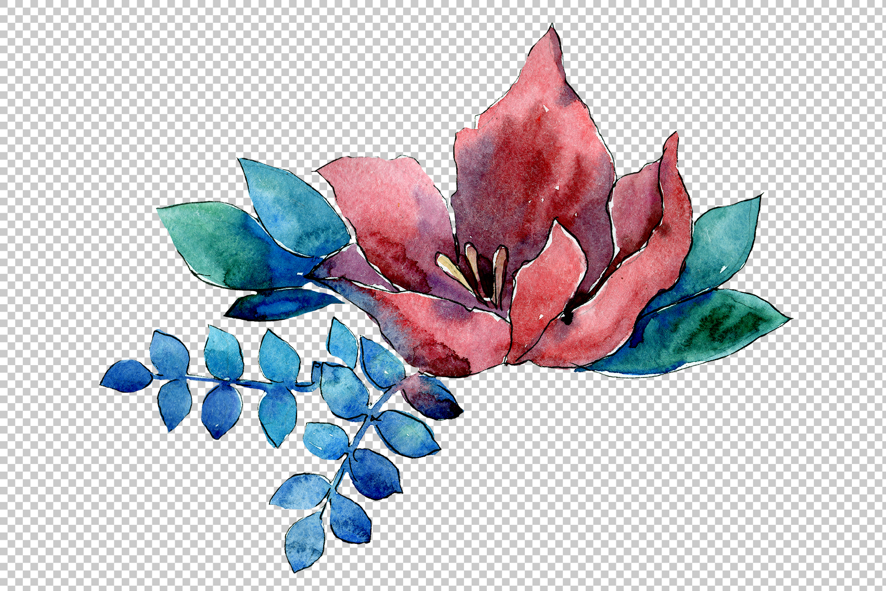 Flower composition PNG watercolor set example image 3