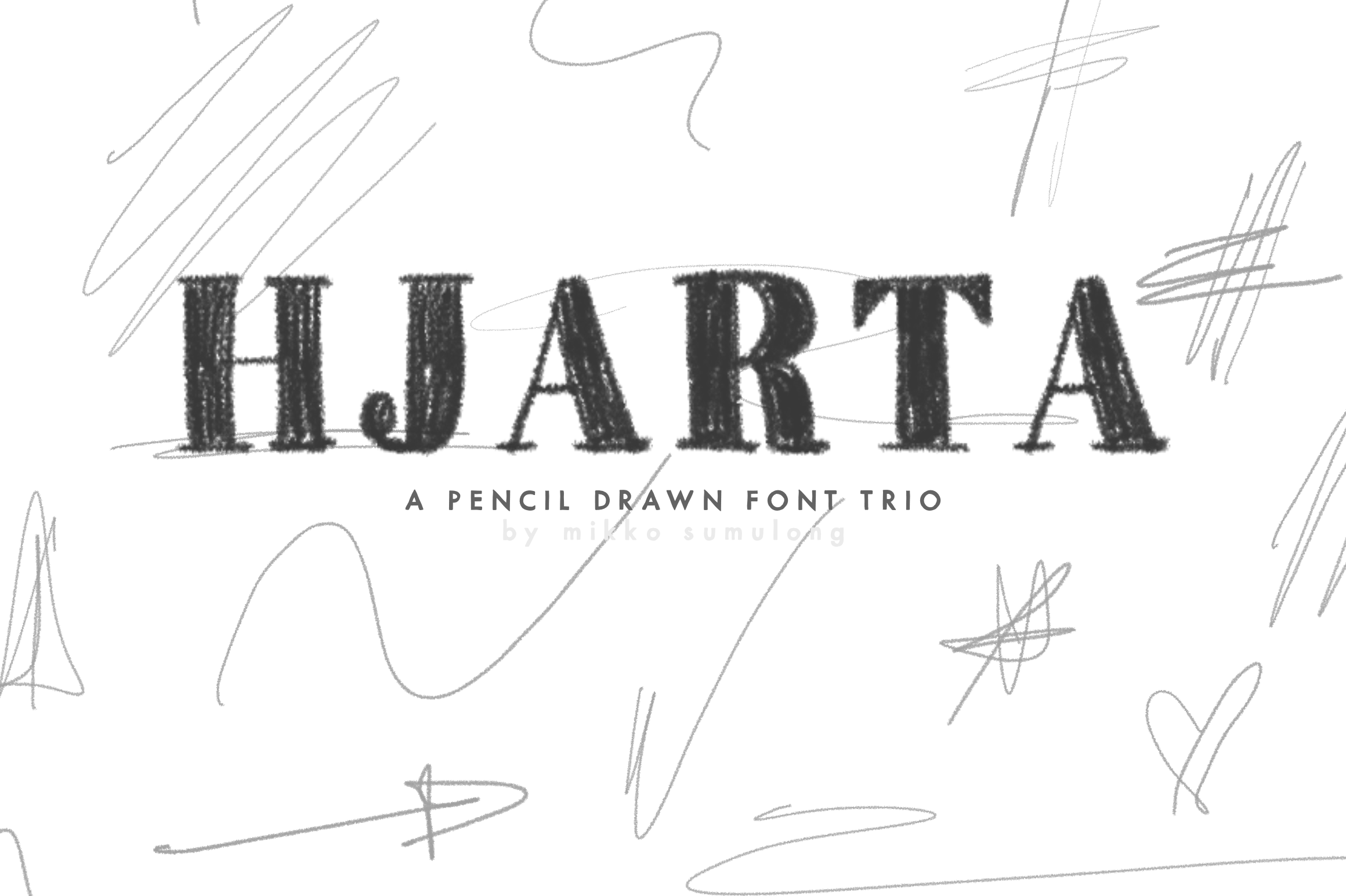 Hjarta - A Pencil Drawn Font Trio example image 1