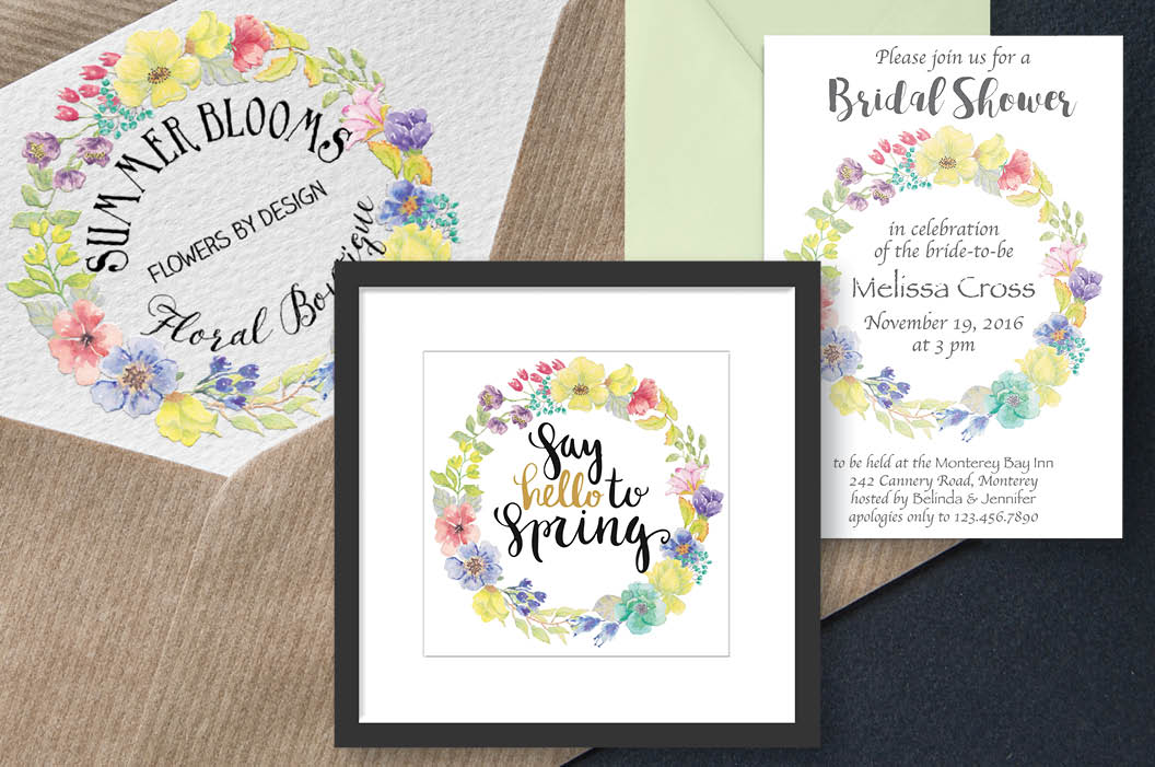 Watercolor wreath of bright spring flowers example image 3