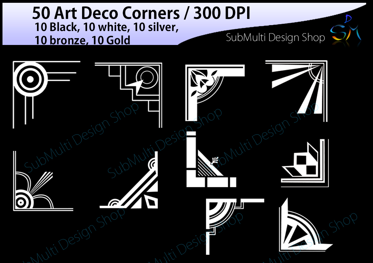 Art deco / art deco corners / art deco frames / art deco digital clipart / vector / High Quality / side corners / silhouette /digital files example image 5
