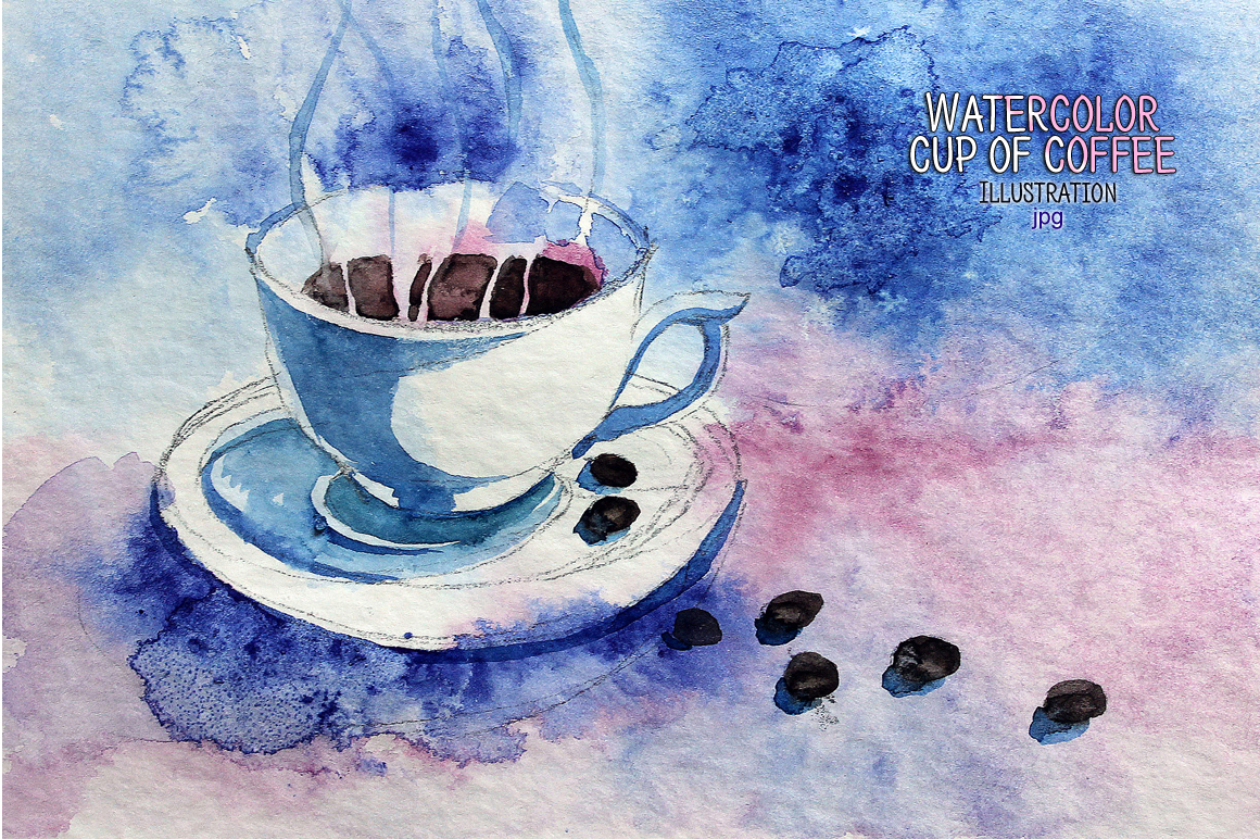 Watercolor cup of coffee example image 1