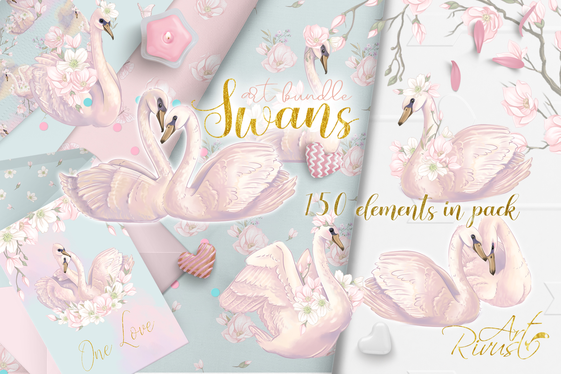 Swans clipart bundle. Wedding and baby shower graphic pack. example image 1
