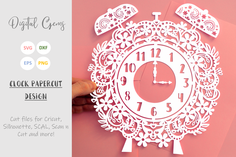 Alarm clock papercut design SVG / EPS / DXF / PNG Files example image 2