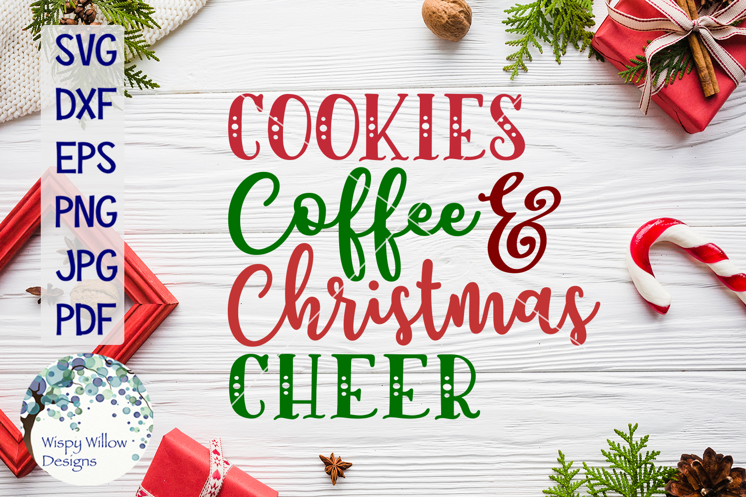 Cookies Coffee and Christmas Cheer SVG Cut File example image 1