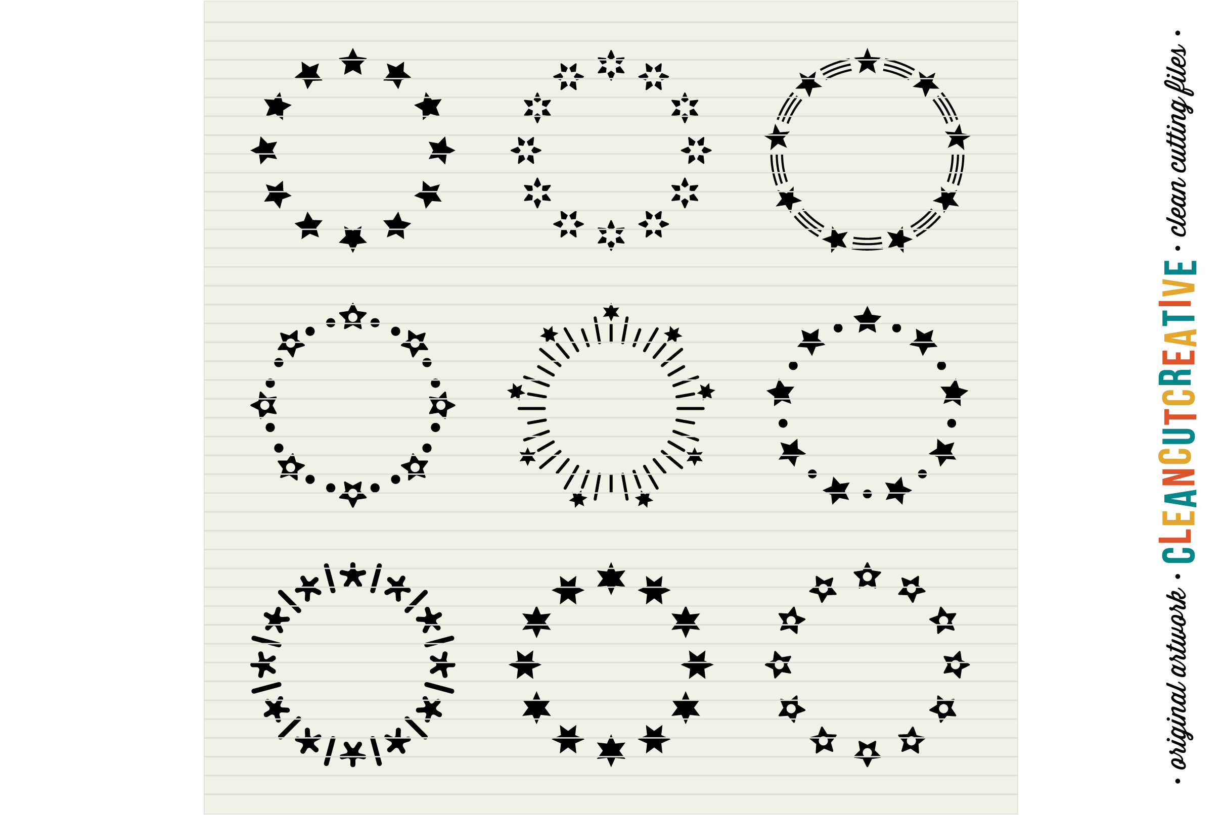Circle Monogram Star Frames - SVG DXF EPS - for Cricut and Silhouette Cameo - clean cutting digital files example image 3