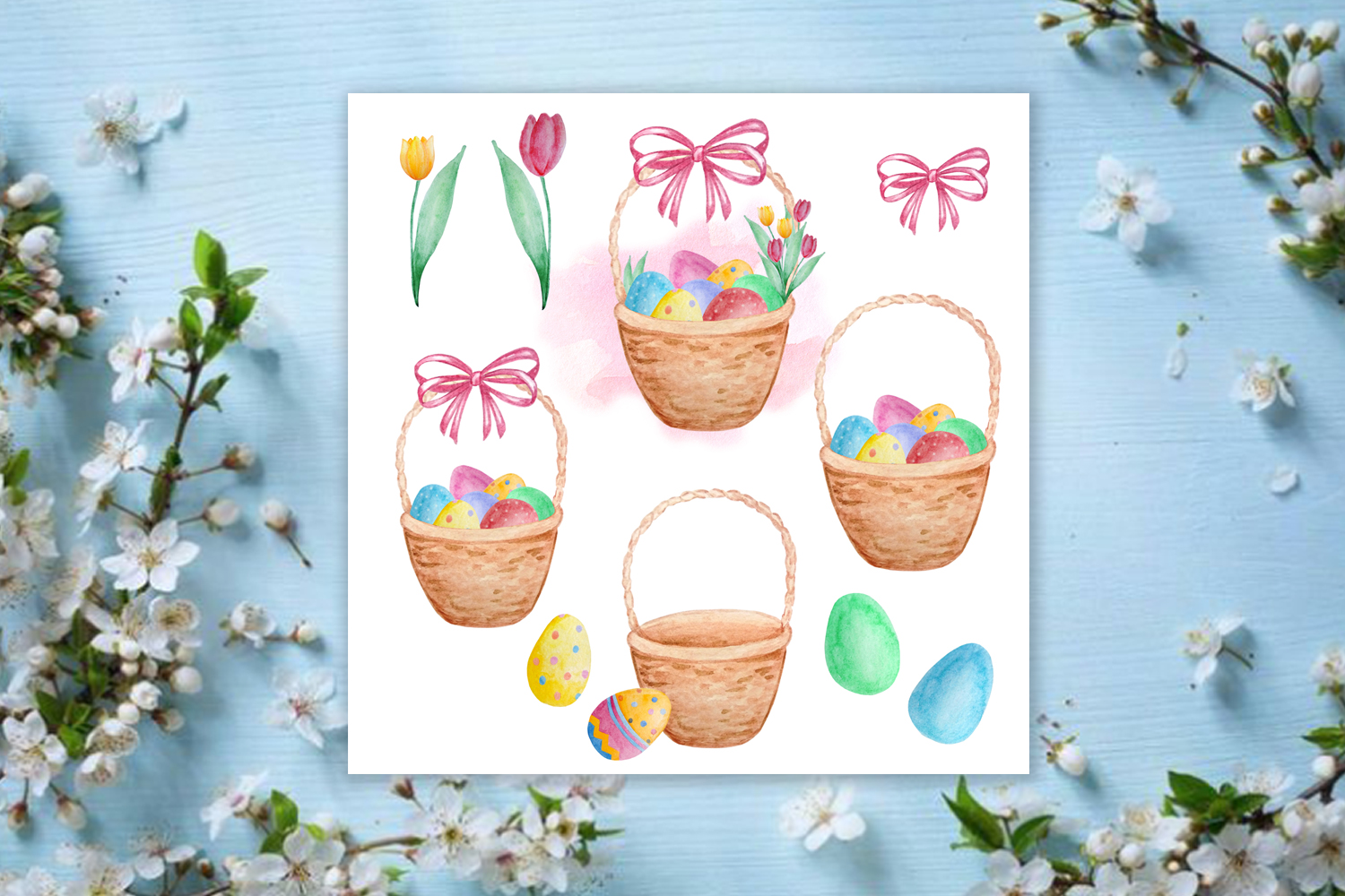 Watercolor Happy Easter Clipart Set example image 3