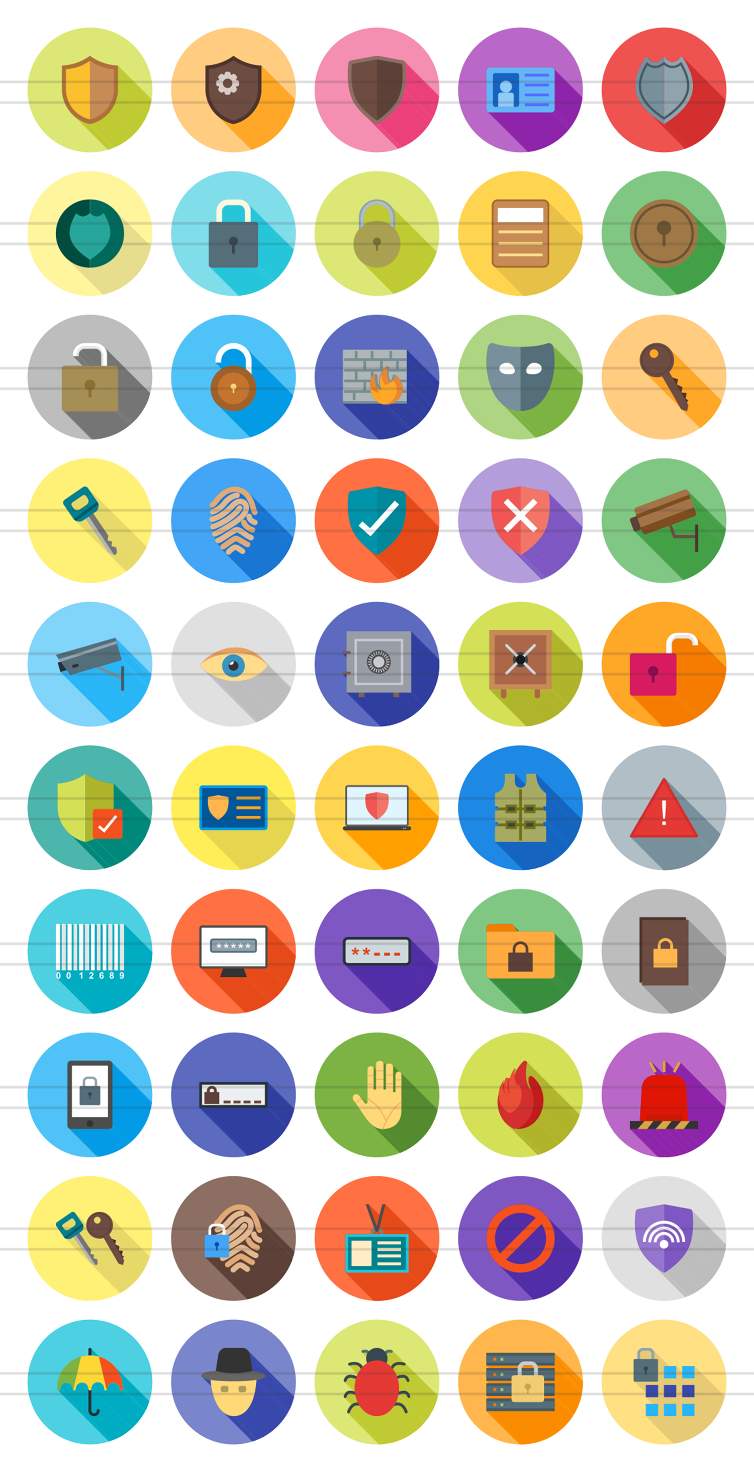 50 Security Flat Long Shadow Icons example image 2