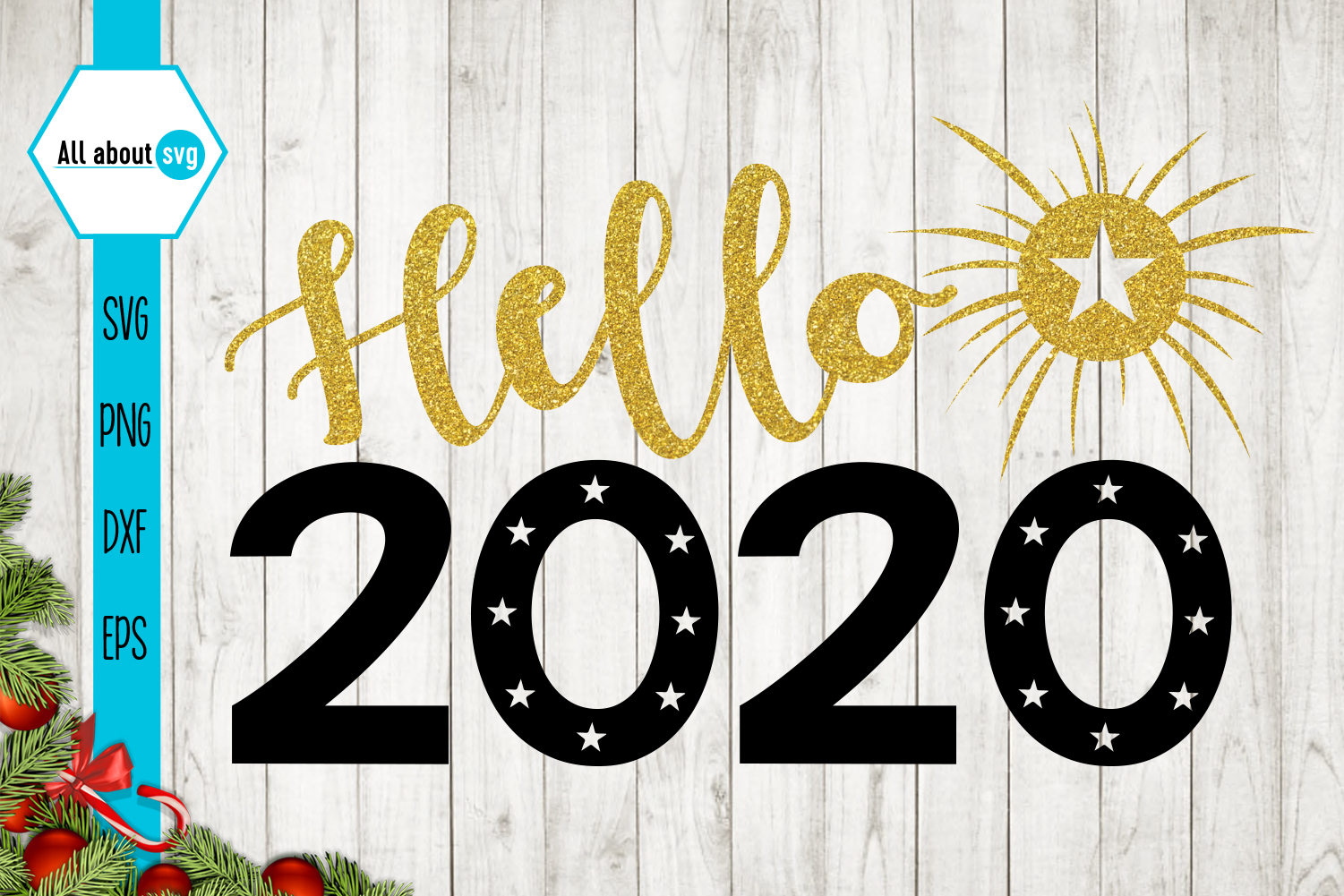 Hello 2020 svg, New Year Glitter Svg example image 2