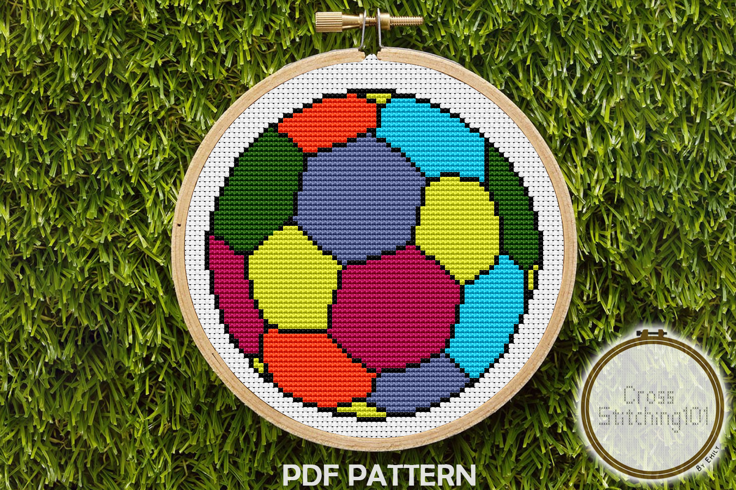 Football Design Cross Stitch Pattern- Instant Download PDF example image 1