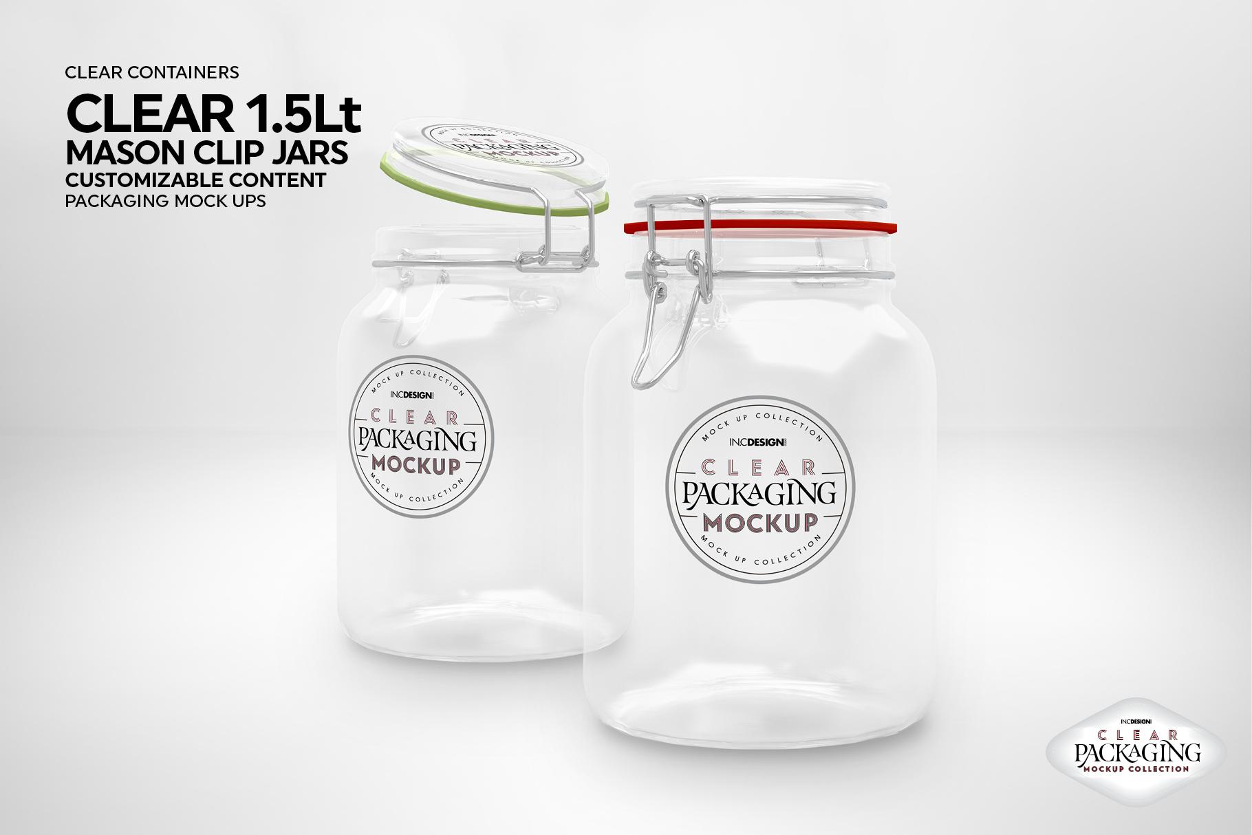 Clear 1.5 Liter Mason Clip Jar Packaging Mockup example image 6