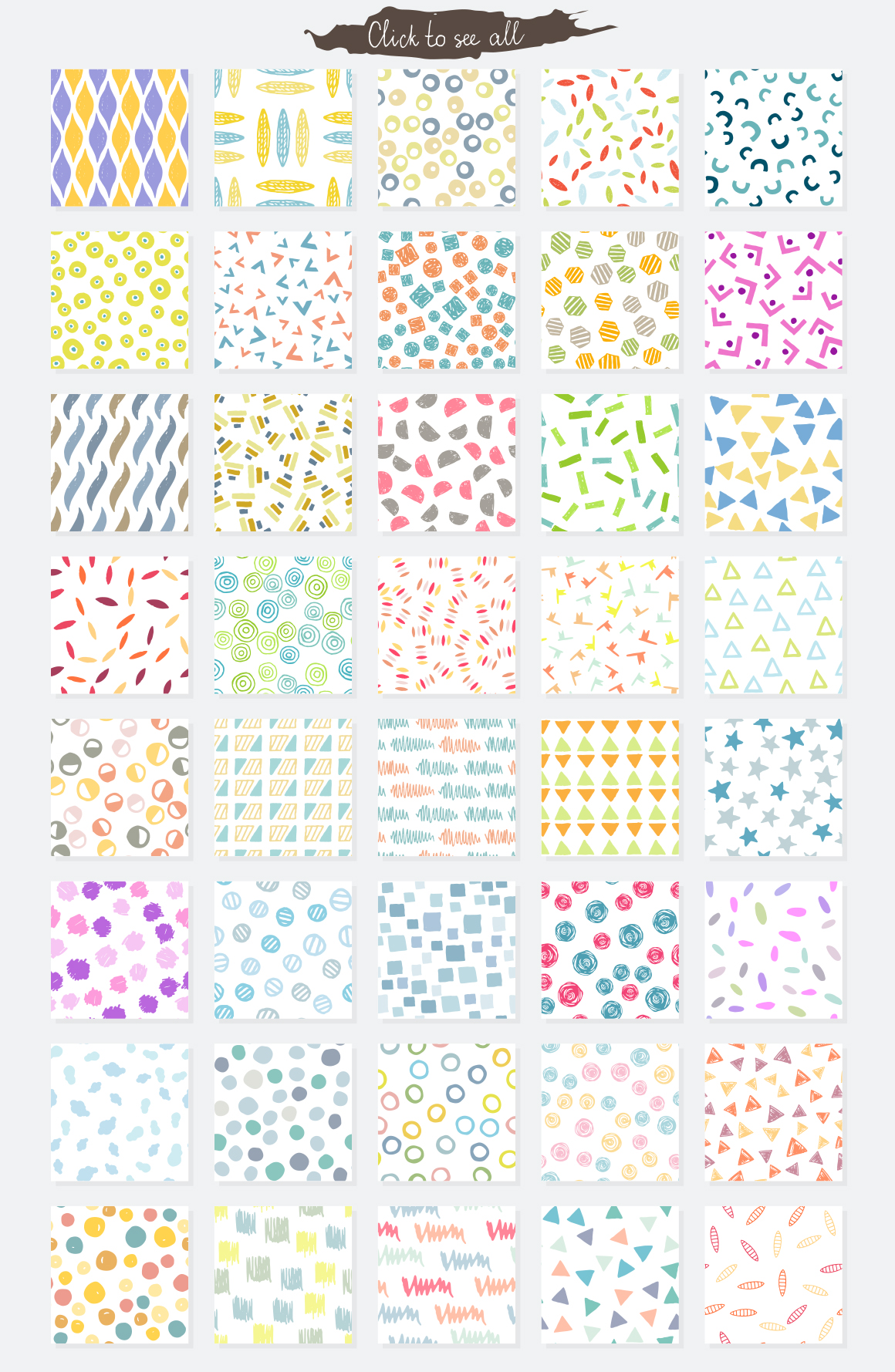 Vector seamless hand drawn colorful patterns example image 6