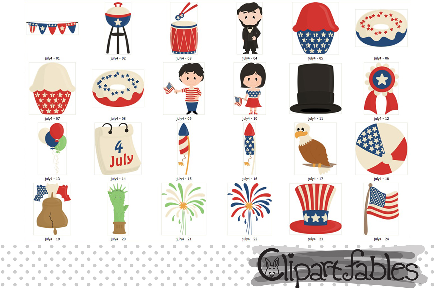 Happy INDEPENDENCE Day clipart, 4th of JULY clipart, USA art example image 2