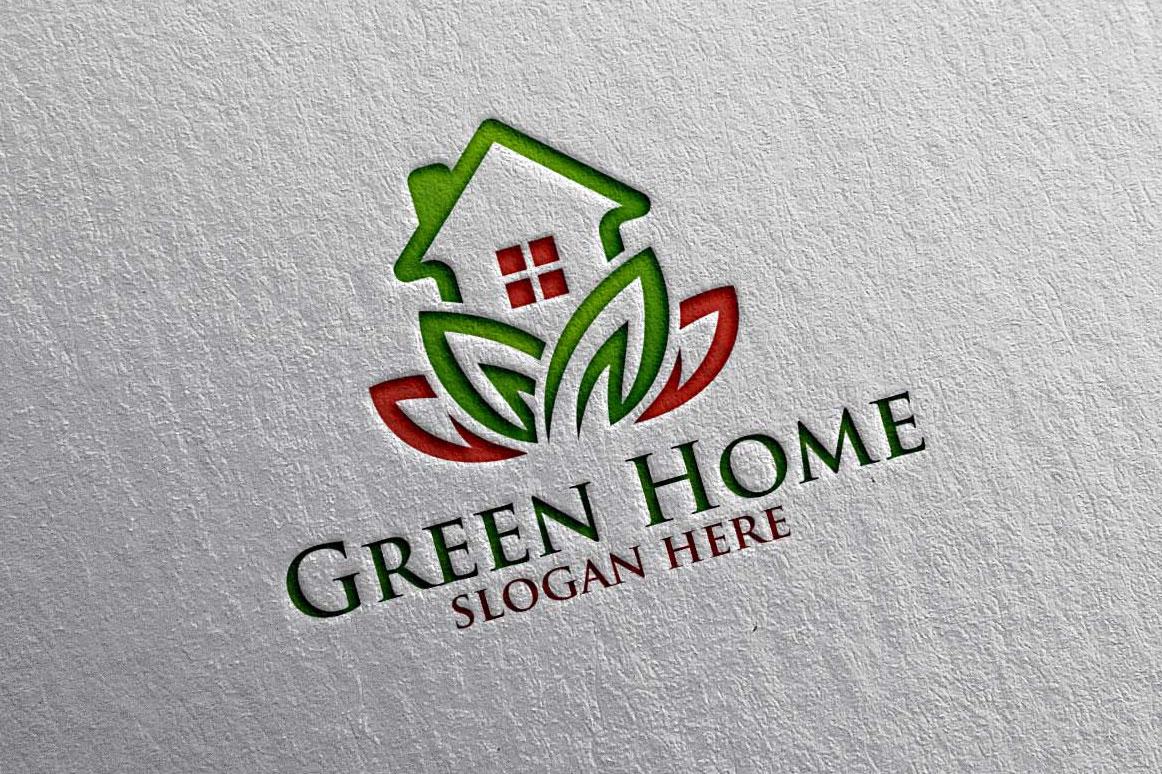 Real estate Logo, Green Home Logo 18 example image 4
