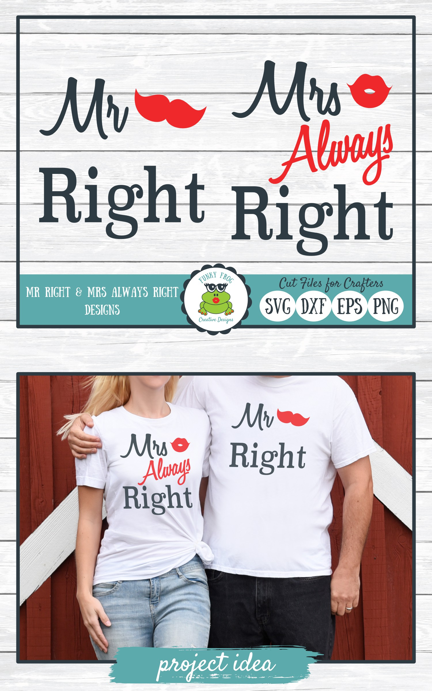 Mr Right and Mrs Always Right - Valentine, Love SVG Cut File example image 4