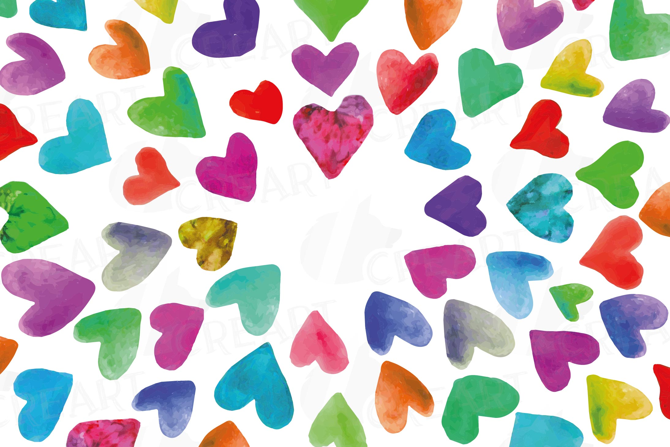Watercolor little hearts clip art, colorful Valentine example image 21