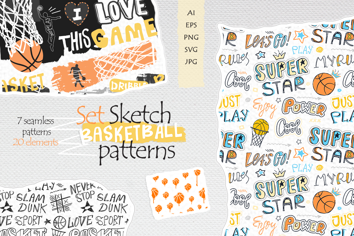 Set Sketch Basketball patterns example image 1