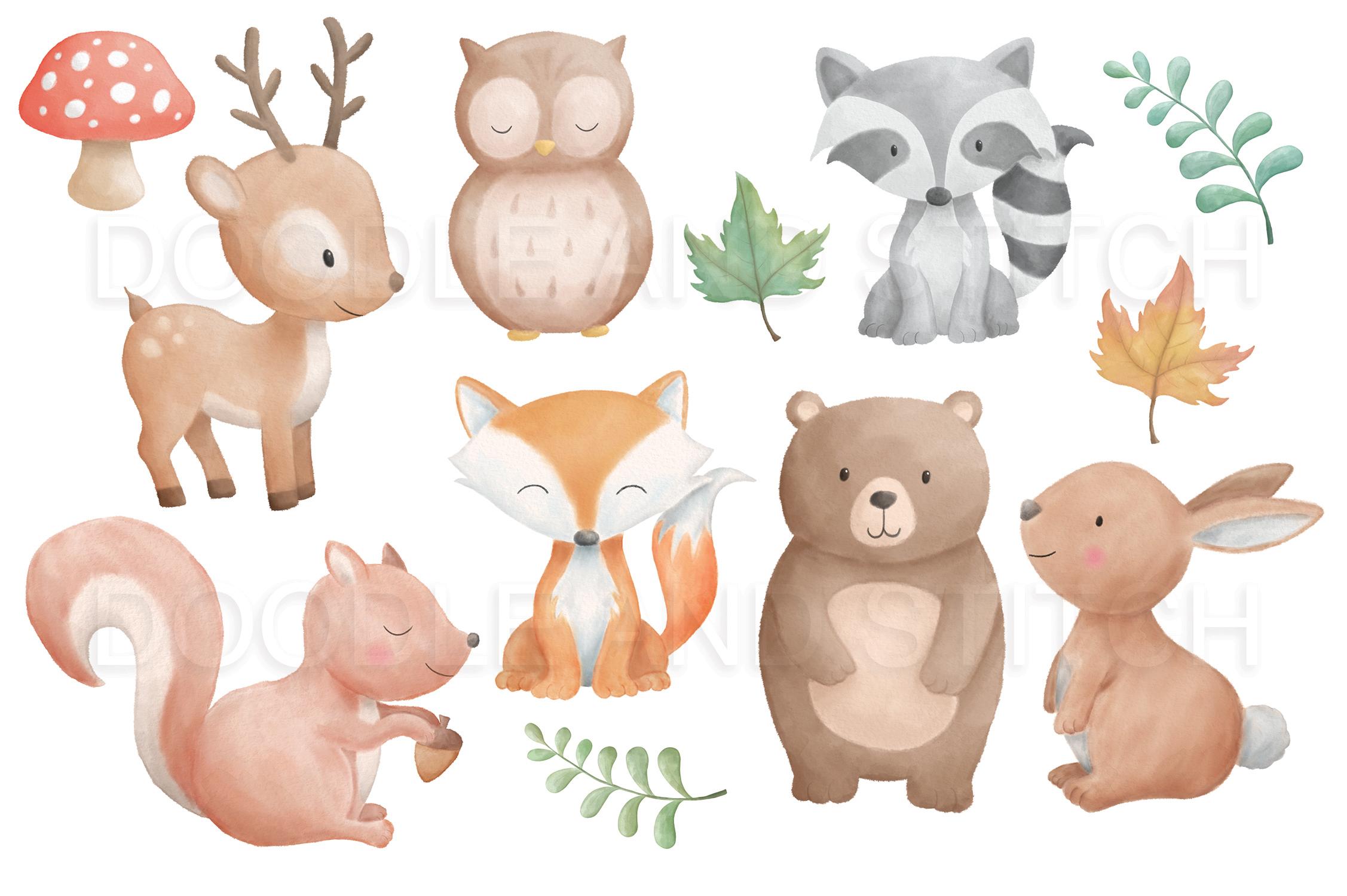 Watercolor Woodland Animal Designs example image 2