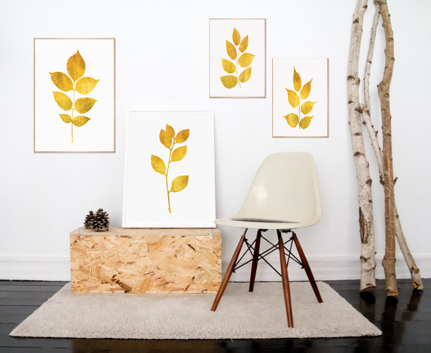 Yellow Wall Art, Gold Wall Decor, Leaf Wall Art, Gold Print example image 2