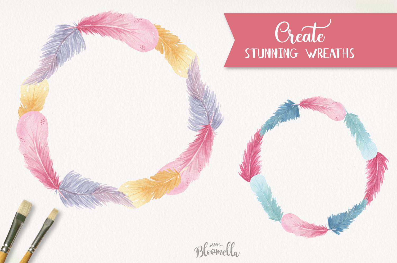 Feathers 17 Watercolor Elements Pastels Boho Bohemian example image 3