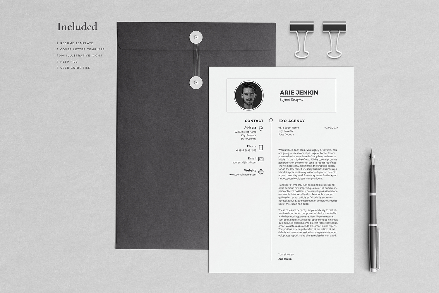 Arie Resume with Cover Letter Professional Template example image 3